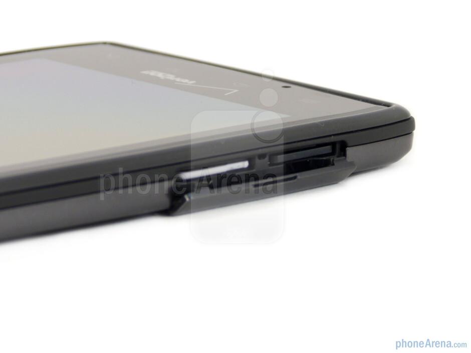 microSIM card slot and microSD card slot on the left - Motorola DROID RAZR Review