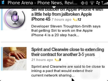 The WebKit browser runs decently quick and renders pages just fine - RIM BlackBerry Curve 9350 Review
