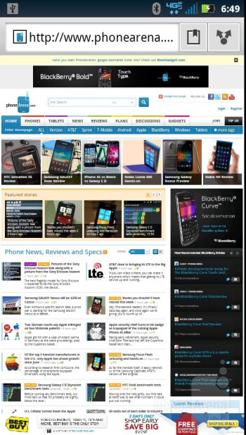 Web browsing with the Motorola DROID RAZR - Motorola DROID RAZR vs HTC Rezound