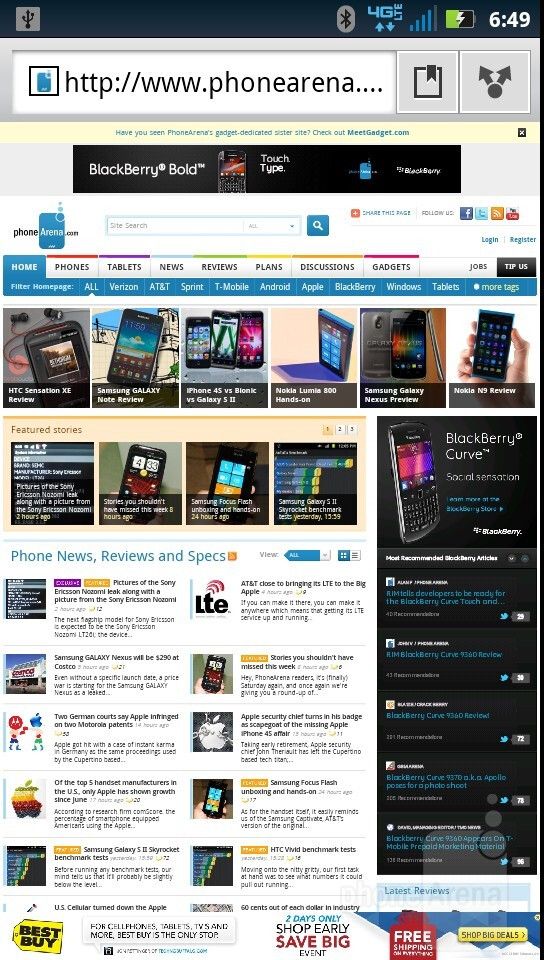 Web browsing with the Motorola DROID RAZR - Motorola DROID RAZR vs HTC Rezound
