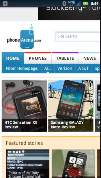 Web browsing with the Motorola DROID RAZR - Verizon Galaxy Nexus vs Motorola DROID RAZR