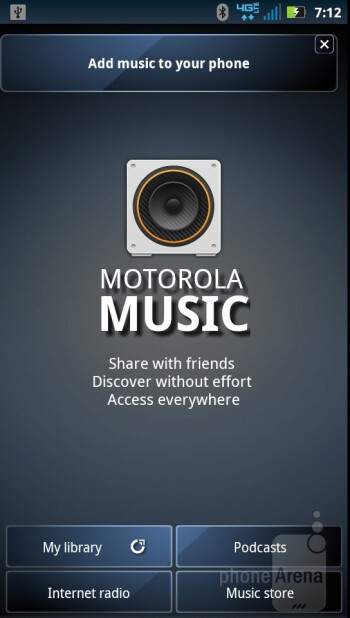 The music player interface - Motorola DROID RAZR Review