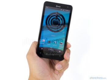 Despite the plastic exterior, the HTC Vivid still packs a noticeable amount of weight when it's held in hand - HTC Vivid Review