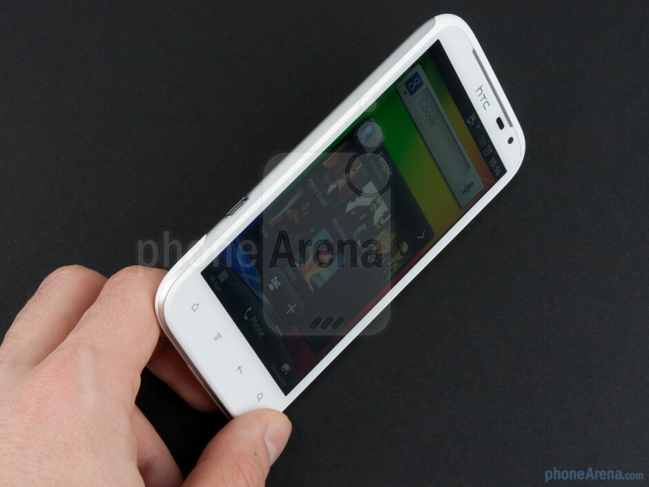The HTC Sensation XL allows for a comfortable grip, as the corners are rounded - HTC Sensation XL Review
