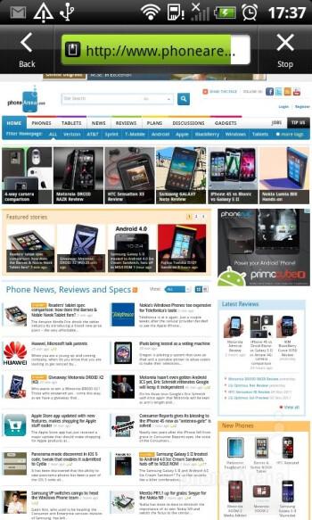 Browsing the web - HTC Sensation XL Review