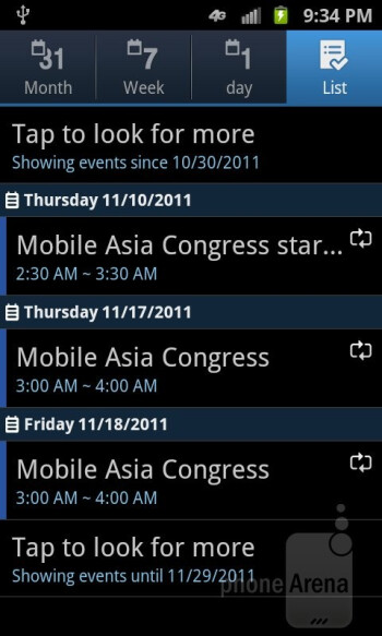 The Samsung Galaxy S II Skyrocket presents us with the normal set of core organizer apps - Samsung Galaxy S II Skyrocket Review