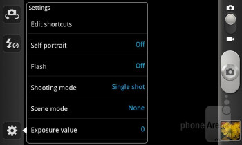 Camera interface of the Samsung Galaxy S II Skyrocket - LG Nitro HD vs Samsung Galaxy S II Skyrocket