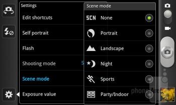 Camera interface of the Samsung Galaxy S II Skyrocket - LG Nitro HD vs Samsung Galaxy S II Skyrocket