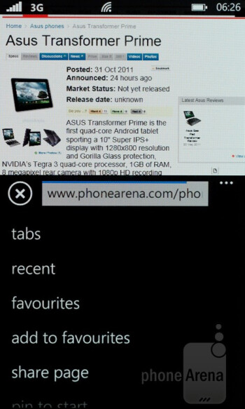 The Internet Explorer delivers fast loading times and silky smooth  scrolling - Nokia Lumia 800 Review