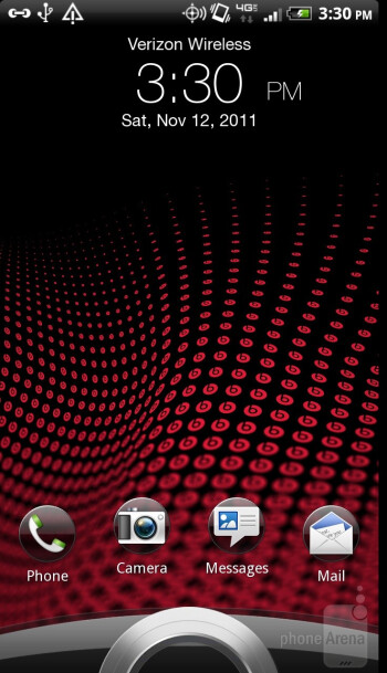 The  interface of HTC Rezound - Motorola DROID RAZR vs HTC Rezound