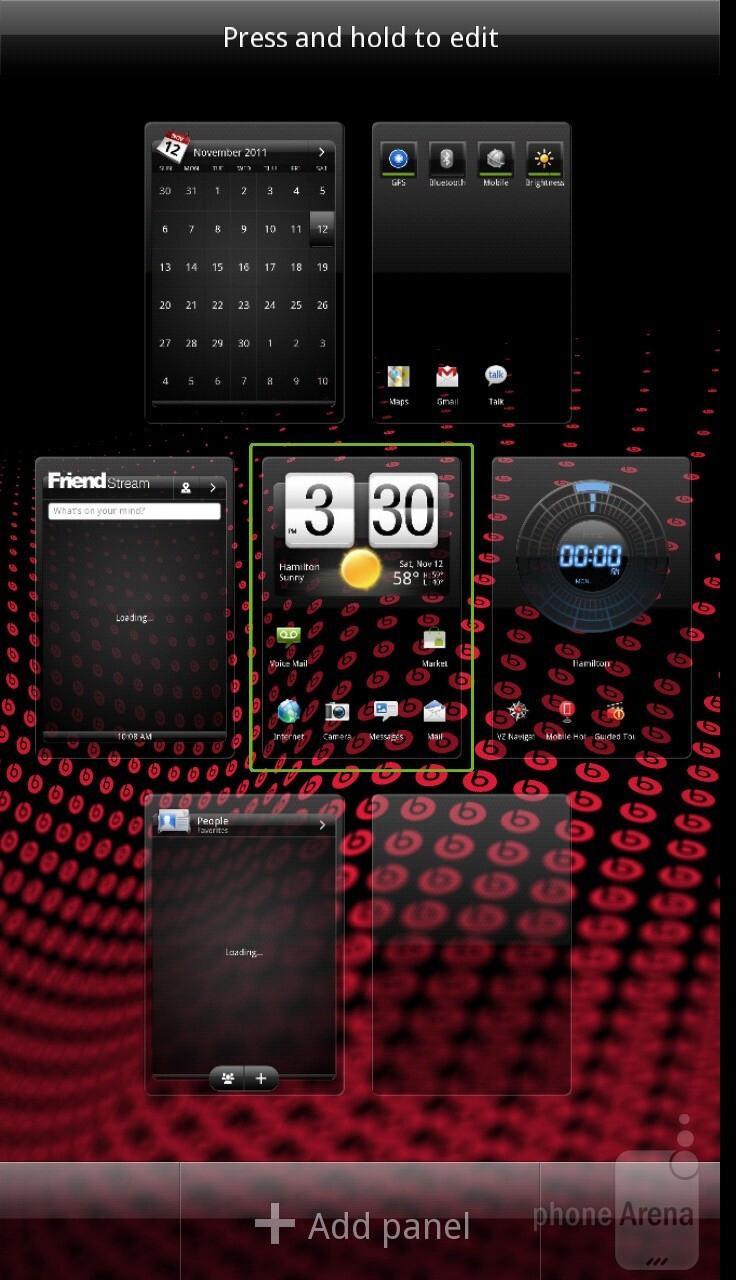 The interface of HTC Rezound - Motorola DROID RAZR vs HTC Rezound