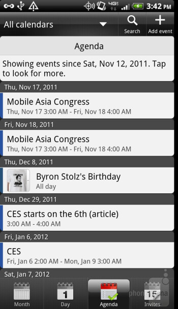 The calendar app pulls information from all your accounts - HTC Rezound Review