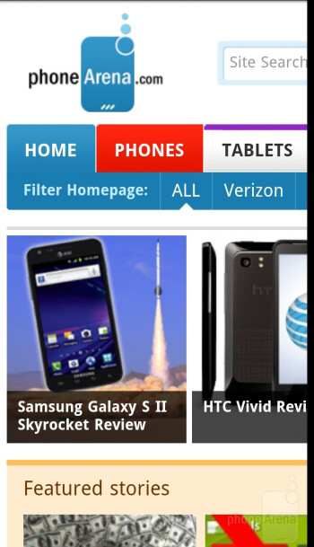 The browser of the HTC Rezound offers desktop-like experience - HTC Rezound Review
