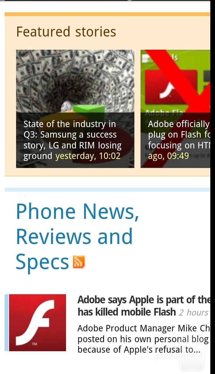 The browser of the HTC Rezound - Motorola DROID RAZR vs HTC Rezound