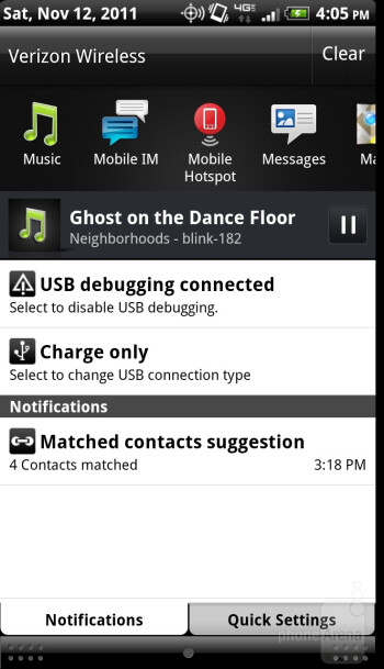 The music player of the HTC Rezound - Verizon Galaxy Nexus vs HTC Rezound
