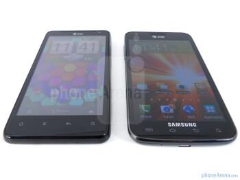 HTC Vivid - left, Samsung Galaxy S II Skyrocket - right - HTC Vivid vs Samsung Galaxy S II Skyrocket