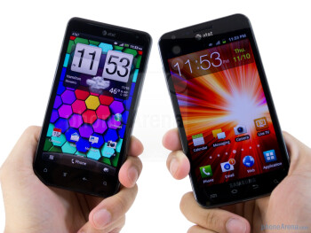 There's nothing particularly amazing about the design of the HTC Vivid (left) and Samsung Galaxy S II Skyrocket (right) - HTC Vivid vs Samsung Galaxy S II Skyrocket