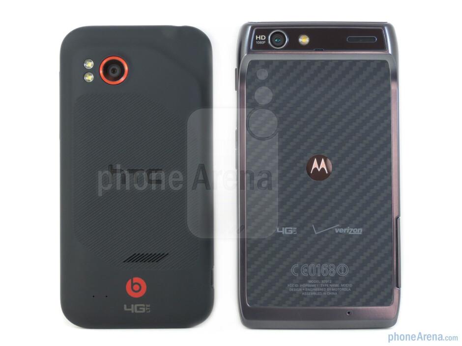 Back - Motorola DROID RAZR (right) and HTC Rezound (left) - Motorola DROID RAZR vs HTC Rezound