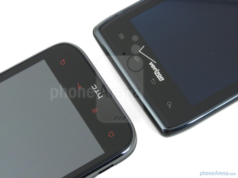 Android buttons - Motorola DROID RAZR (right) and HTC Rezound (left) - Motorola DROID RAZR vs HTC Rezound
