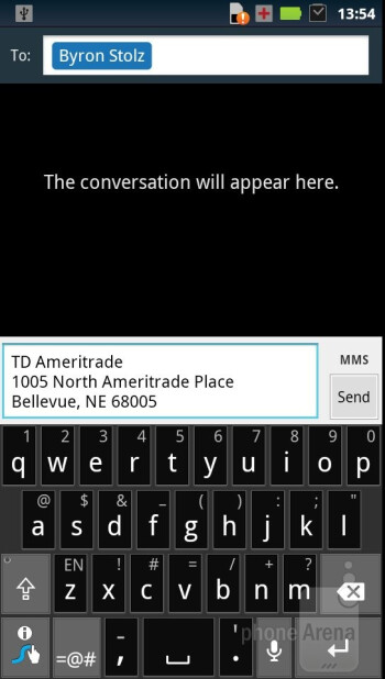 The on-screen keyboard found on the Motorola RAZR - Motorola RAZR Review