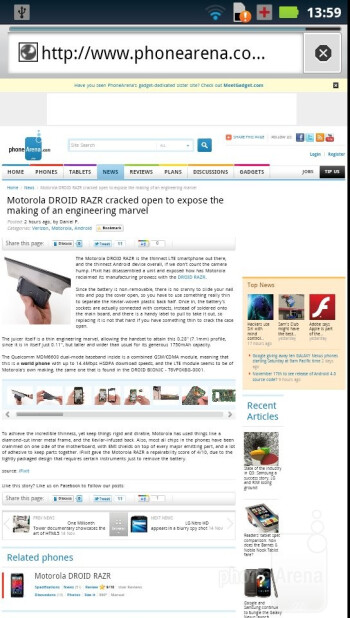 The web browser of the Motorola DROID RAZR - Motorola DROID RAZR vs Samsung Galaxy S II