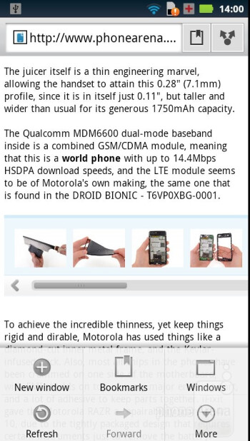 The web browser of the Motorola RAZR - Motorola RAZR Review