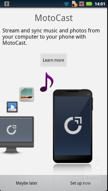 MotoCast - Motorola has managed to plant some of its presence in the included applications - Motorola RAZR Review