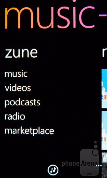 Music + Videos Hub - The Zune experience with Windows Phone employs one of the best presentations out there - Samsung Focus Flash Review