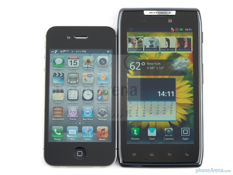 Motorola DROID RAZR (right, top) and Apple iPhone 4S (left, bottom) - Motorola DROID RAZR vs Apple iPhone 4S