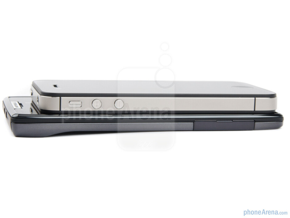 Left sides - Motorola DROID RAZR (bottom) and Apple iPhone 4S (top) - Motorola DROID RAZR vs Apple iPhone 4S