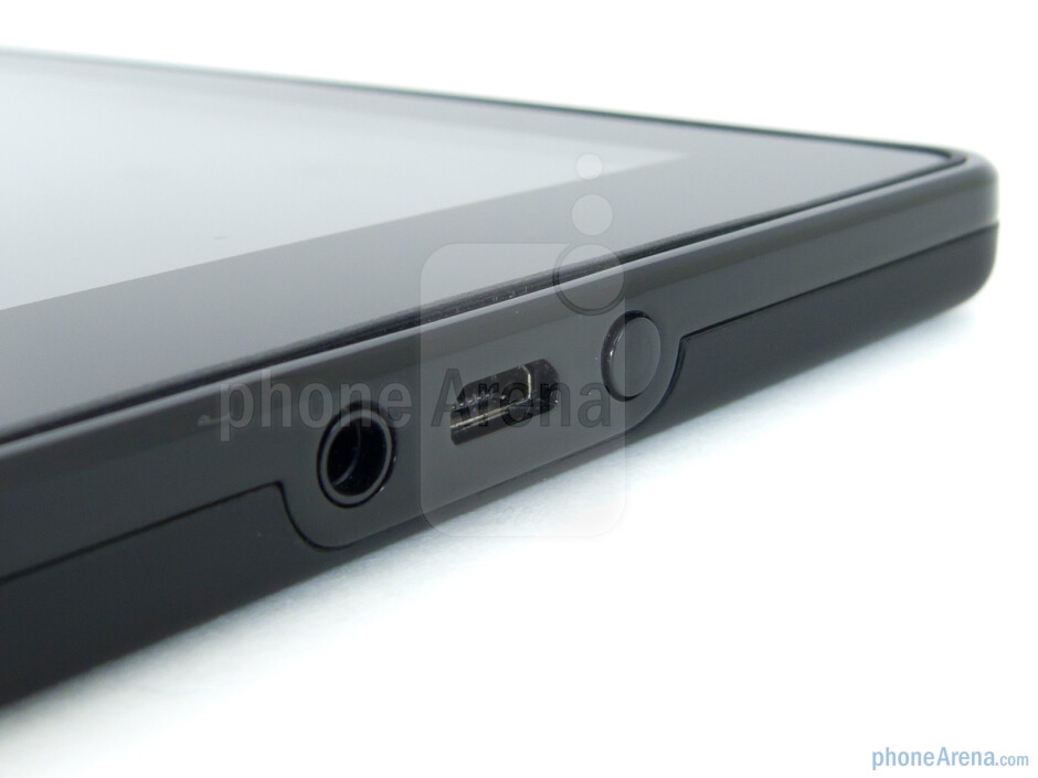 3.5mm jack, microUSB port and power key on bottom - The sides of the Amazon Kindle Fire - Amazon Kindle Fire Review