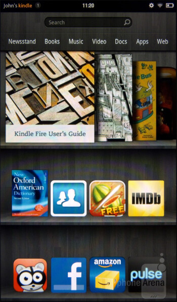 There is a bookshelf that displays some of the favorite content - Amazon Kindle Fire Review