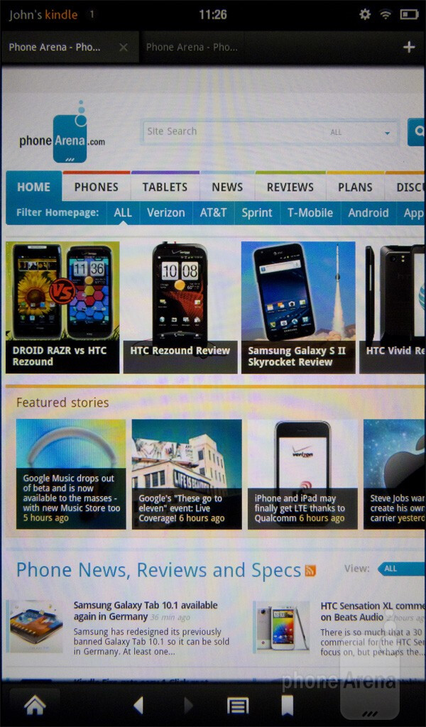 The browser of the Amazon Kindle Fire - Google Nexus 7 vs Amazon Kindle Fire