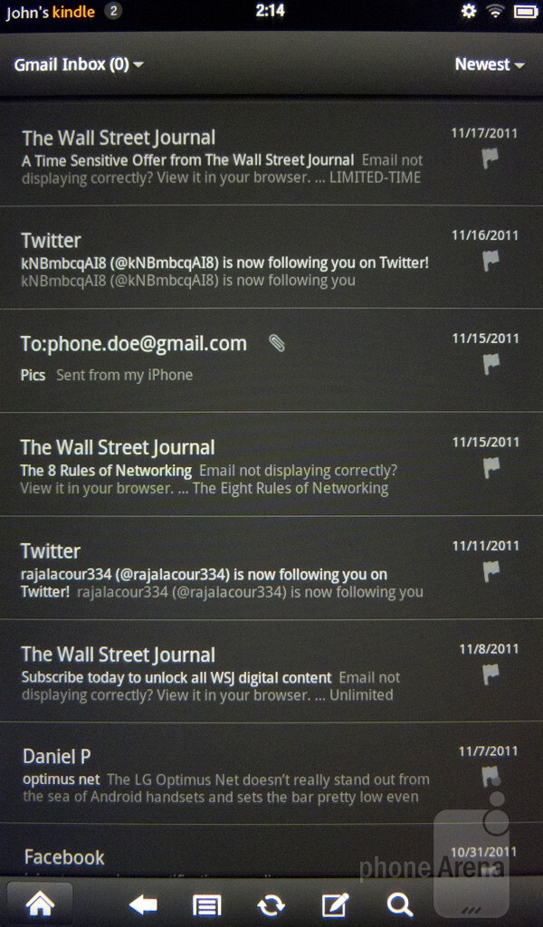 The native email client of the Amazon Kindle Fire has a smartphone-like layout - Google Nexus 7 vs Amazon Kindle Fire