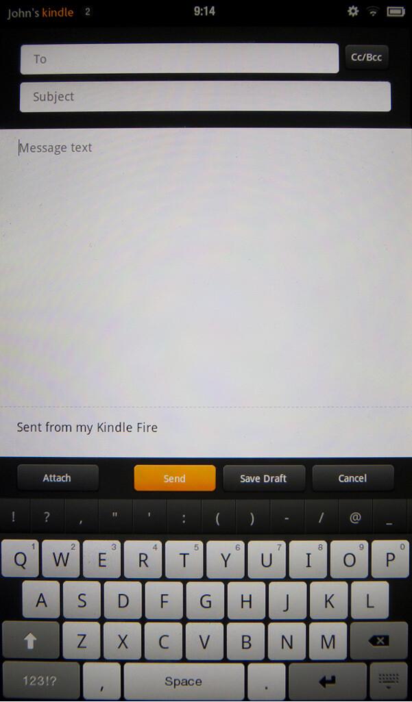 On-screen keyboard of the Amazon Kindle Fire - Google Nexus 7 vs Amazon Kindle Fire