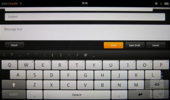 On-screen keyboard of the Amazon Kindle Fire - Google Nexus 7 vs Amazon Kindle Fire