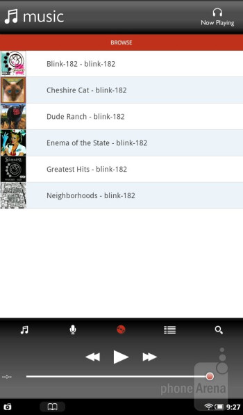 The music player is mostly very generic looking with is presentation - Barnes & Noble NOOK Tablet Review