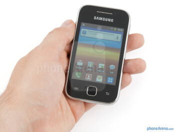 The Samsung Galaxy Y is very small, and gets lost in larger hands - Samsung Galaxy Y Review