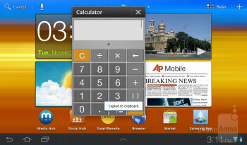 On top of Google's futuristic Android 3.2 Honeycomb, Samsung has naturally layered its custom TouchWiz UX user interface - Samsung Galaxy Tab 7.0 Plus Review