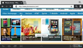 Web browsing - Samsung Galaxy Tab 7.0 Plus Review