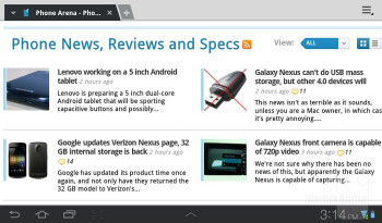 Web browsing - Samsung Galaxy Tab 7.0 Plus Review