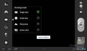 Camera interface - Samsung Galaxy Tab 7.0 Plus Review