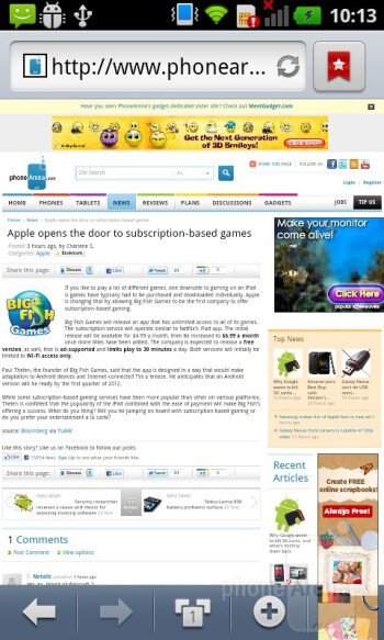 Internet browser - LG Optimus Sol Review