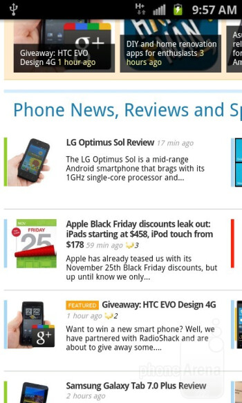 The Samsung Captivate Glide delivers a resounding web browsing experience - Samsung Captivate Glide Review