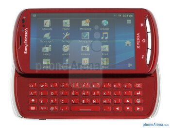 The side-sliding QWERTY keyboard of the Sony Ericsson Xperia pro - Sony Ericsson Xperia pro Review