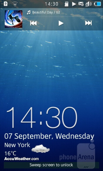 Bada OS 2.0 is standing loud and proud in front of you past the active lockscreen of the Samsung Wave 3 - Samsung Wave 3 Review