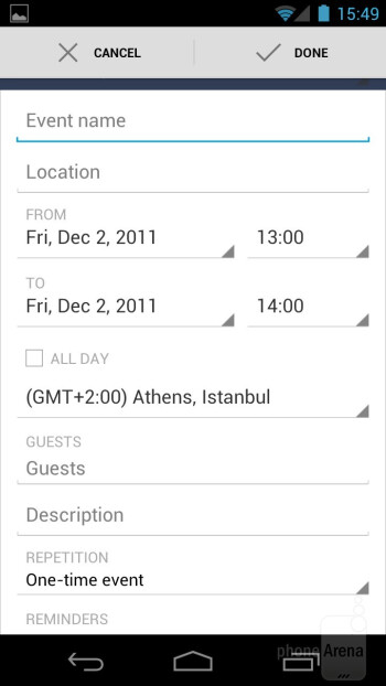 The Calendar of the Samsung  Galaxy Nexus - Motorola DROID 4 vs Samsung Galaxy Nexus