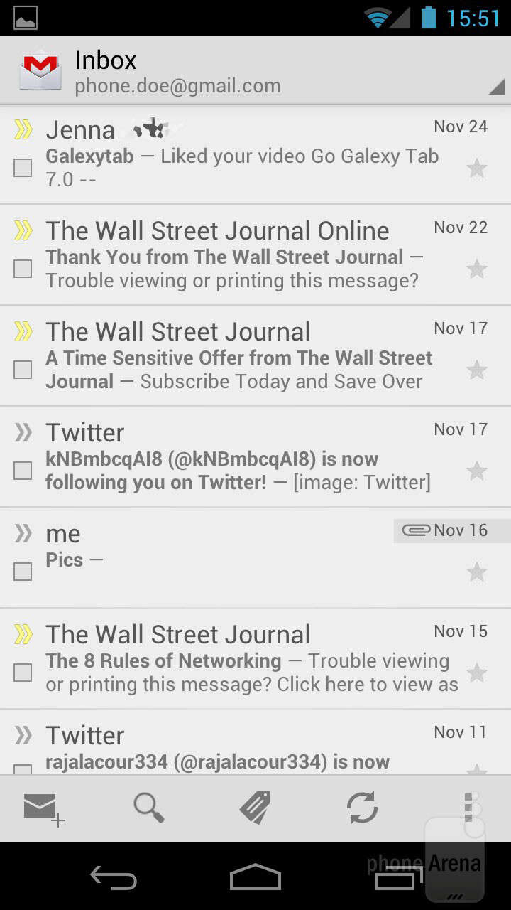 The e-mail app - Samsung Galaxy Nexus Review