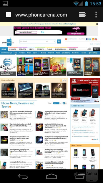 The ICS web browser on the Samsung Galaxy Nexus - HTC One X vs Samsung Galaxy Nexus