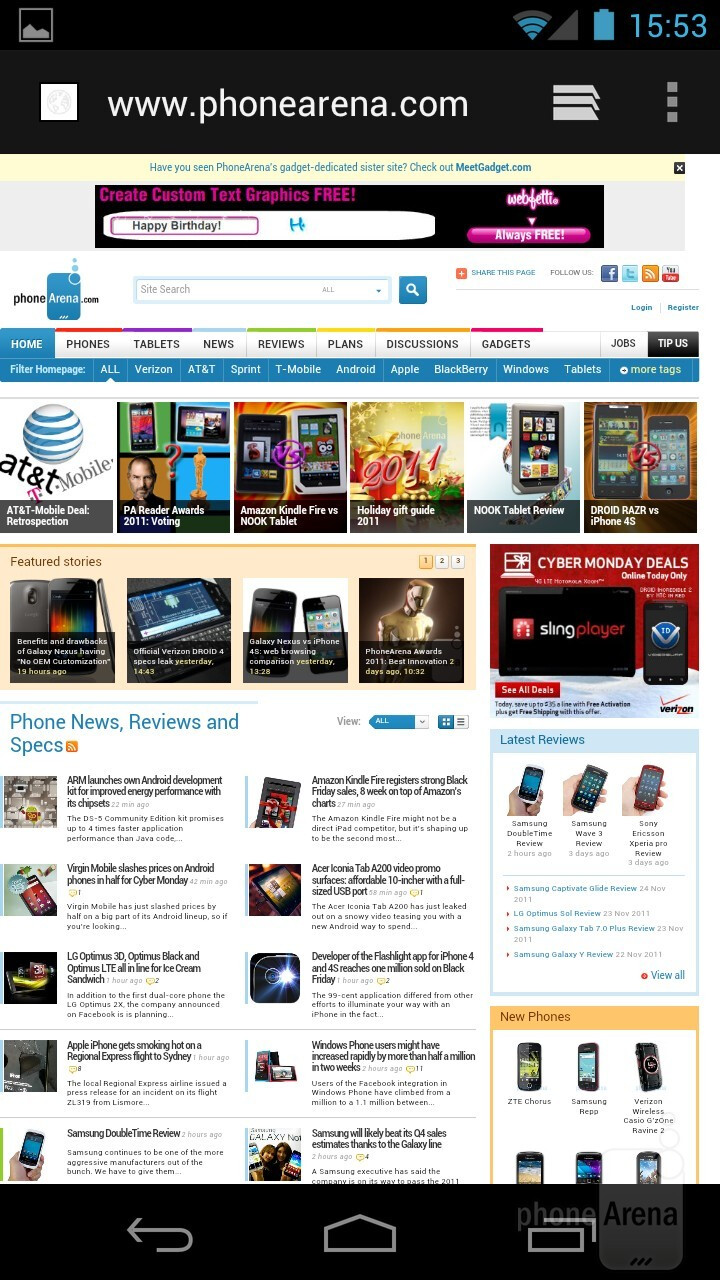 The ICS web browser on the Samsung Galaxy Nexus - Samsung Galaxy Nexus Review